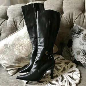 Ralph Lauren Tall Leather Heels Boots Woman's 8